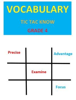 Vocabulary Tic Tac Know  -- Grade 4