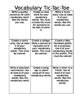 Vocabulary Tic Tac Toe