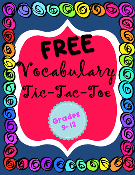 Vocabulary Tic Tac Toe Board {Editable}