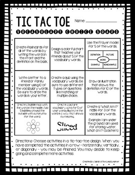 Vocabulary tic tac toe choice board by the lead learner tpt vocabulary tic tac toe choice board pronofoot35fo Choice Image