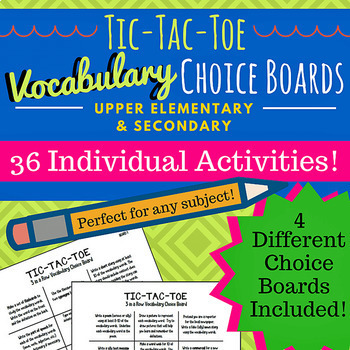 Vocabulary Tic-Tac-Toe Choice Boards