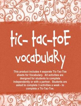 Vocabulary Tic-Tac-Toe Independent Activities