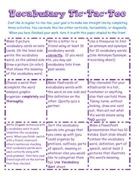 Vocabulary Tic-Tac-Toe {PERFECT vocabulary center}