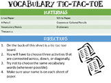 Vocabulary Tic-Tac-Toe for Elementary