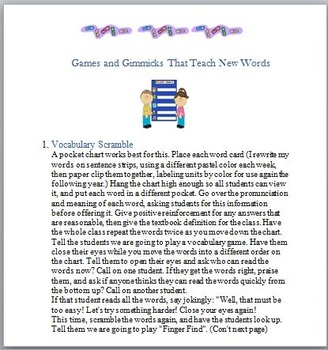Vocabulary Fun: Gimmicks, Games, and Goals !