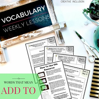 Vocabulary To The Core- Common Core Tier 2 Words, Words that mean ADD TO