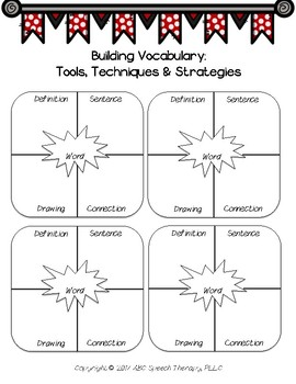 Speech Therapy Back to School: Comprehensive Vocabulary Packet