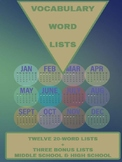 Vocabulary Word Lists: 12 Months of Lists+3 Bonus Lists