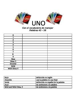 Vocabulary UNO