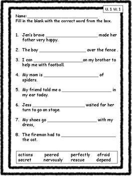 Vocabulary Unit 1 Practice Pack Second Grade
