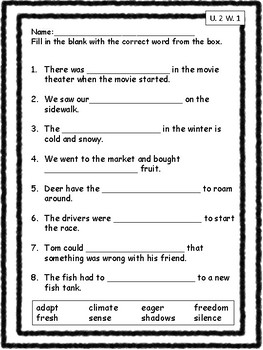 Vocabulary Unit 2 Practice Pack Second Grade