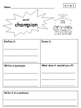 Vocabulary Unit 5 Practice Pack-Second Grade