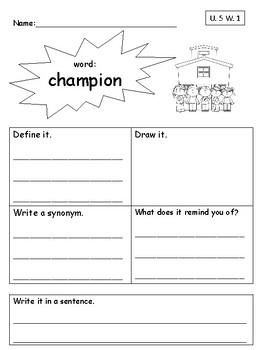 Vocabulary Unit 5 Practice Pack-Second Grade