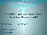 Vocabulary Unit I - SAT Vocabulary Review