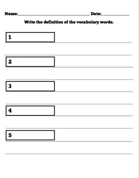 Vocabulary Unit: Third Grade