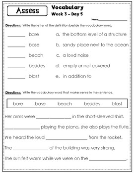 Vocabulary All Year Long for 2nd Grade