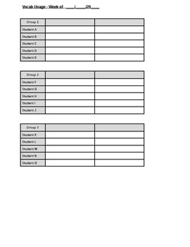 Vocabulary Usage Checklist