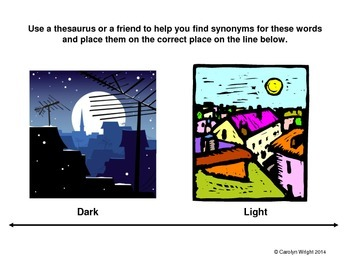 Vocabulary Using Synonyms and Antonyms--Dark vs. Light