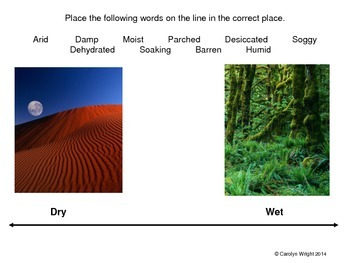 Vocabulary Using Synonyms and Antonyms--Dry vs. Wet