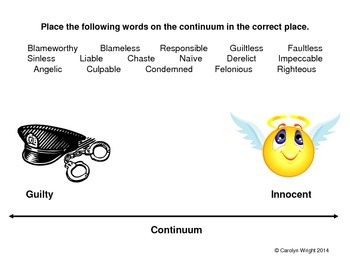 Vocabulary Using Synonyms and Antonyms--Guilty vs. Innocent