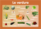 Vocabulary Vegetables Poster  in Italian. A3 size. Primary  Italian
