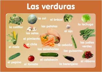 Vocabulary Vegetables Poster   in Spanish. A3 size. Primar