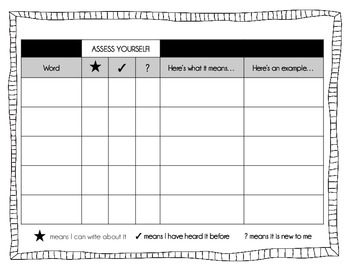 Vocabulary Vocabulary Log And Self Awareness Chart By