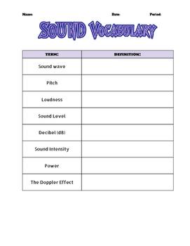Vocabulary WS - Waves + Sound