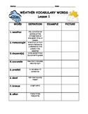 Vocabulary Weather Word Chart Part 1