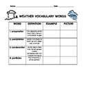 Vocabulary Weather Word Chart Part 2