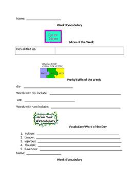 Vocabulary Week by Week