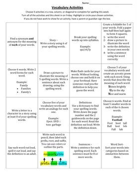 Vocabulary Weekly Activity Sheet