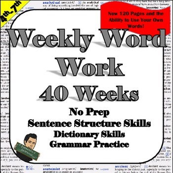 Fifth Grade Word Work *No Prep * Vocabulary and Sentence Structure Practice