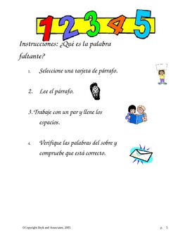 Vocabulary:  What Is the Missing Word (English and Spanish)