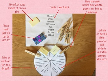 Vocabulary Wheels 4th Grade Math - Centers, Review, Test Prep, Self-Checking