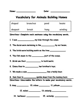 Vocabulary Wksht for Animals Building Homes in the Journeys