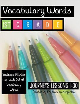 Vocabulary Word Activities: Journeys First Grade