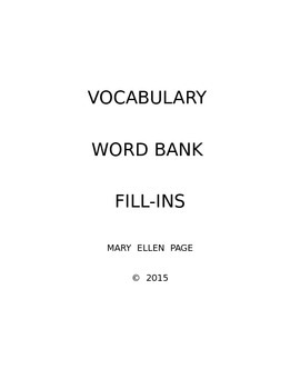 Vocabulary Word Bank Fill-ins