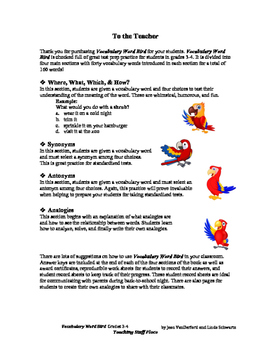 Word Bird Vocabulary Unit | Worksheets Review | NO PREP | 160 words | Gr 3-4