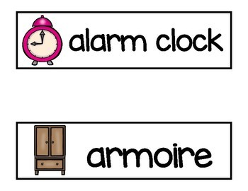 Vocabulary Word Cards--Bedroom