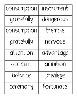 Vocabulary Word Cards / Challenging Words for younger higher readers