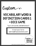 Vocabulary Word and Definition Cards + Dice Game 1