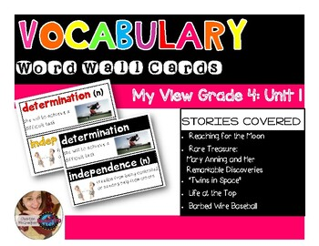 Vocabulary Word Cards My View Grade 4: Unit 1