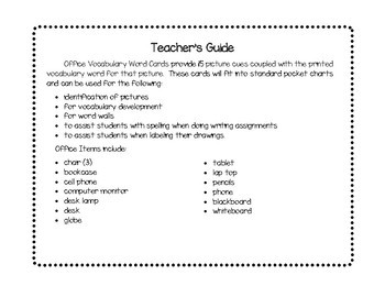 Vocabulary Word Cards--Office