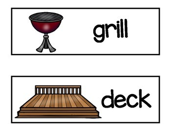 Vocabulary Word Cards--Yard