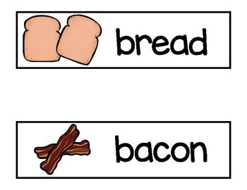 Vocabulary Word Cards for Sandwiches
