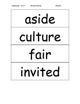 Vocabulary Word Cards for Unit 1 Wonders - Gr 2