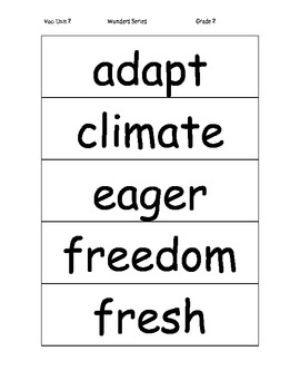 Vocabulary Word Cards for Unit 2 Wonders Gr 2