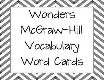 Vocabulary Word Cards for Wonders by McGraw-Hill Grade 4 Units 1-6