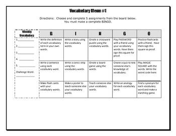 Vocabulary Choice Board #1